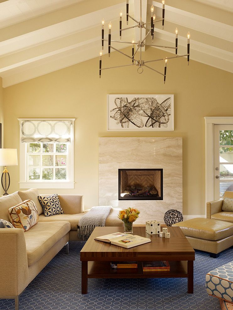 How to Get Rid of Popcorn Ceiling for a Transitional Living Room with a Table Lamp and Palo Alto Residence by Coddington Design