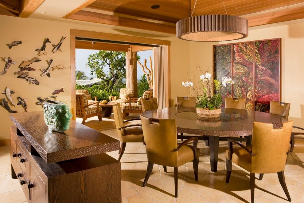 How to Get Rid of Popcorn Ceiling for a Tropical Dining Room with a Round Table and Dining Room by Saint Dizier Design