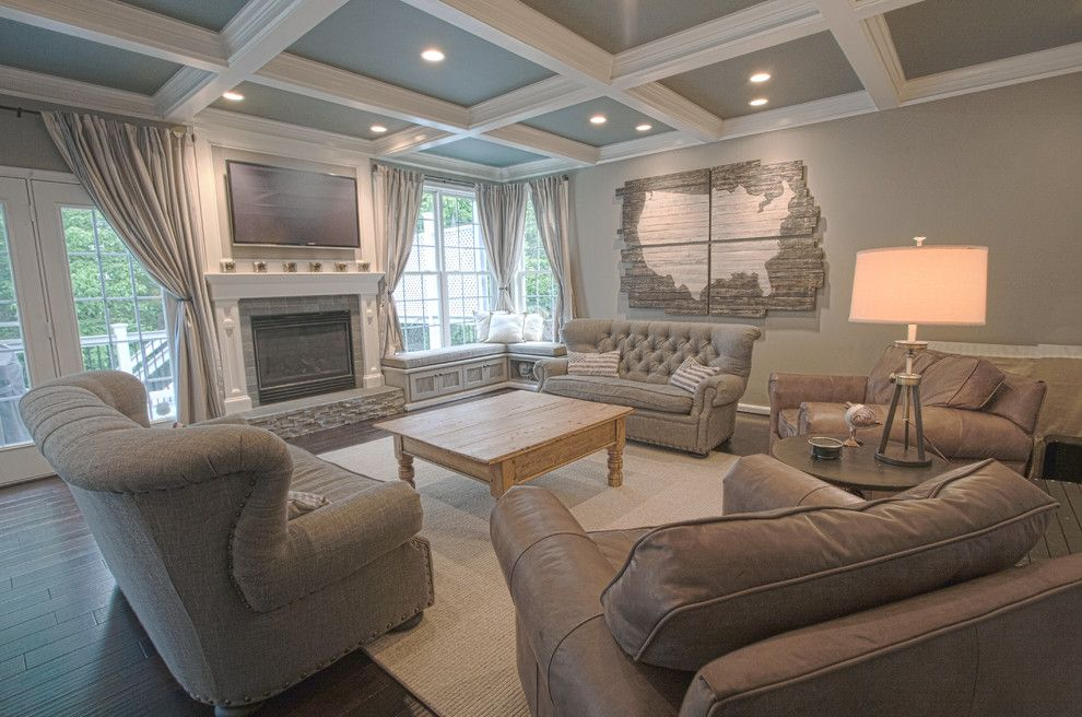 How to Get Rid of Popcorn Ceilings for a Farmhouse Family Room with a Bench Seat and Ashburn Kitchen & Family Room by Synergy Design & Construction