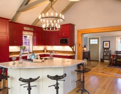 """How to Get Rid of Popcorn Ceilings for a Farmhouse Kitchen with a Red Cabinetry and """"Farmhouse Fabulous"""" Bow, NH by New England Design Elements"""