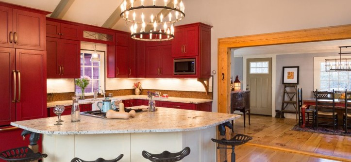 "How to Get Rid of Popcorn Ceilings for a Farmhouse Kitchen with a Red Cabinetry and ""Farmhouse Fabulous"" Bow, NH by New England Design Elements"
