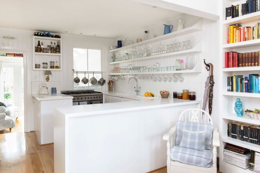 How to Hang Floating Shelves for a Beach Style Kitchen with a Color Coordinated Books and Whitstable Island Cottage by Whitstable Island Interiors
