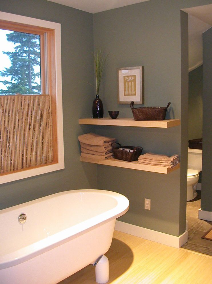 How to Hang Floating Shelves for a Contemporary Bathroom with a Minimal and Master Bath by Stig Carlson Architecture