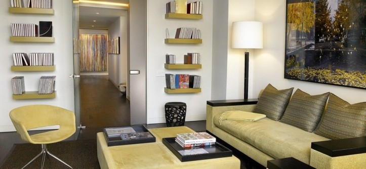How to Hang Floating Shelves for a Contemporary Family Room with a Wall Art and Superior St. Residence by Turn Collaborative