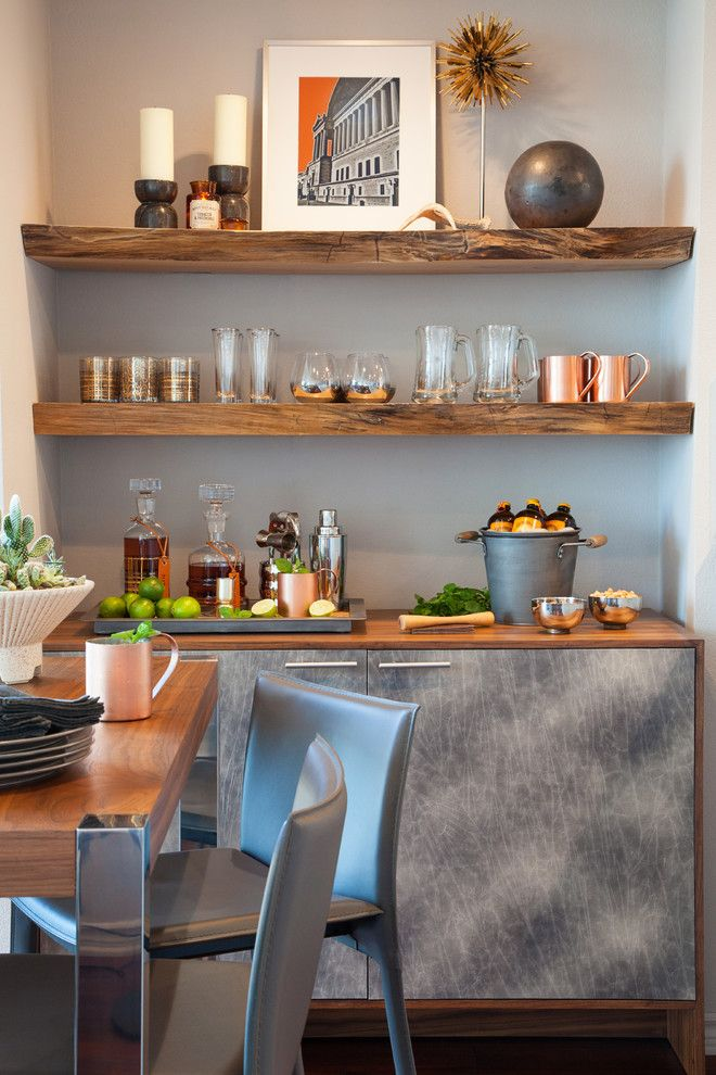 How to Hang Floating Shelves for a Contemporary Home Bar with a Bar and Little Italy Condo by Studio H Design Group, Inc.
