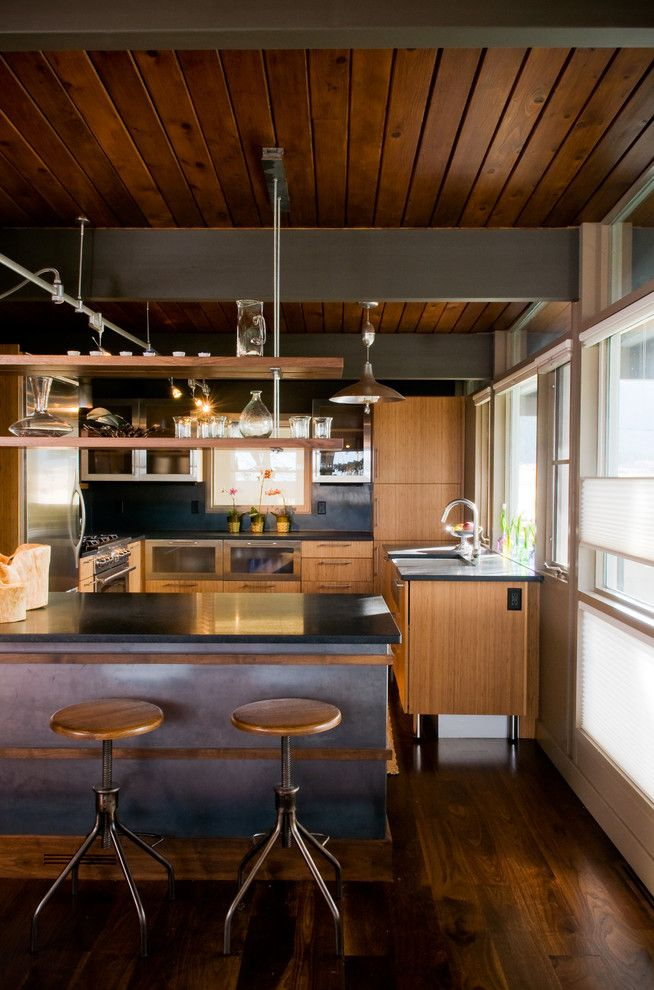 How to Hang Floating Shelves for a Midcentury Kitchen with a Floating Shelves and Midcentury Kitchen by Pearsondesigngroup.com