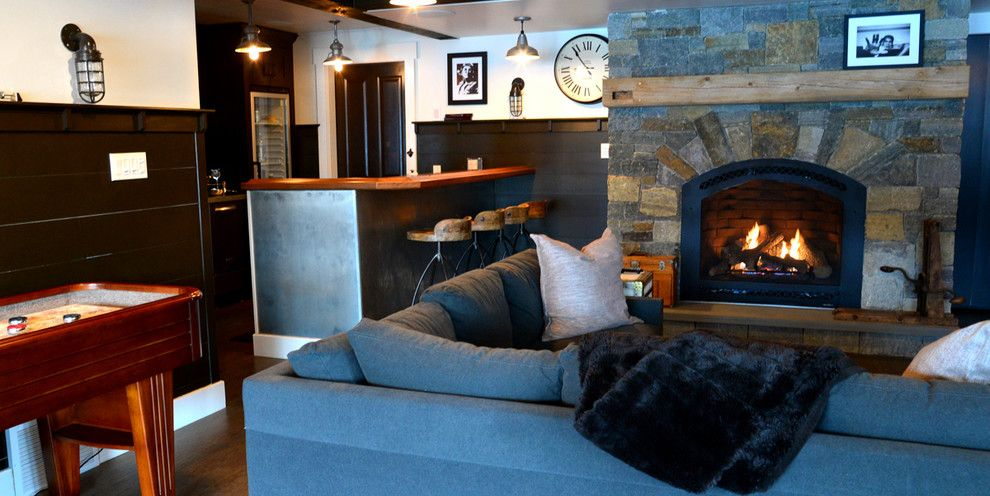 How to Hang Pictures on Plaster Walls for a Farmhouse Living Room with a Gas Fireplaces and Lake Home by a Perfect Placement