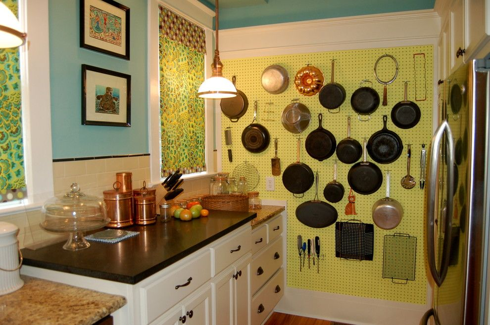 How to Hang Pictures on Plaster Walls for a Traditional Kitchen with a Hanging Pots and American Four Square Kitchen Reno by Dodie