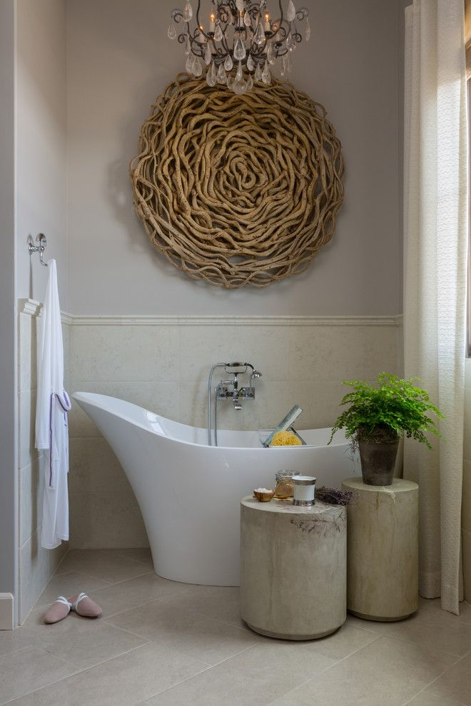 How to Hang Pictures on Plaster Walls for a Transitional Bathroom with a Wall Mounted Tub Filler and Philharmonic House of Design: Master Bathroom Retreat, His, Hers and Coffee Bar by Cindy Smetana Interiors