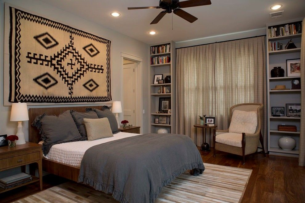 How to Hang Pictures on Plaster Walls for a Transitional Bedroom with a Beige Throw Pillow and Tarrytown by Laura Roberts Design