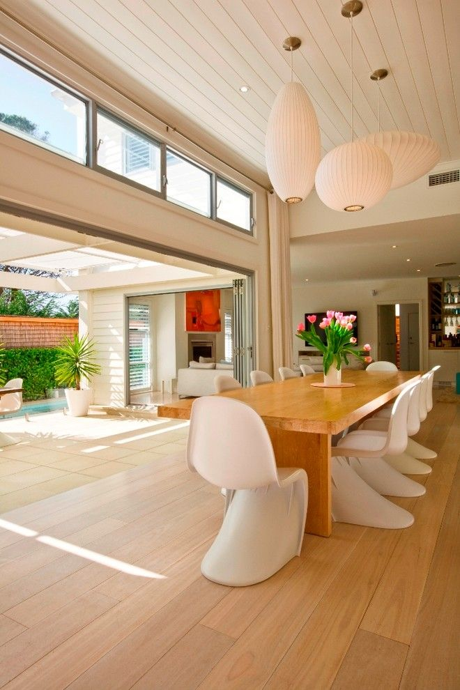 How to Install Bifold Doors for a Contemporary Dining Room with a Patio and Manly Beach House by Sanctum Design