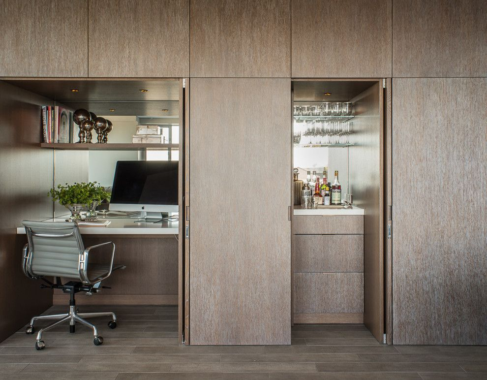 How to Install Bifold Doors for a Contemporary Home Office with a Mirror Backsplash and Chestnut Street by Sutro Architects