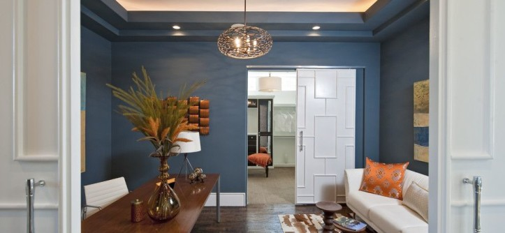 How to Install Bifold Doors for a Contemporary Home Office with a Throw Pillows and Rough Hollow Parade Home by PPDS