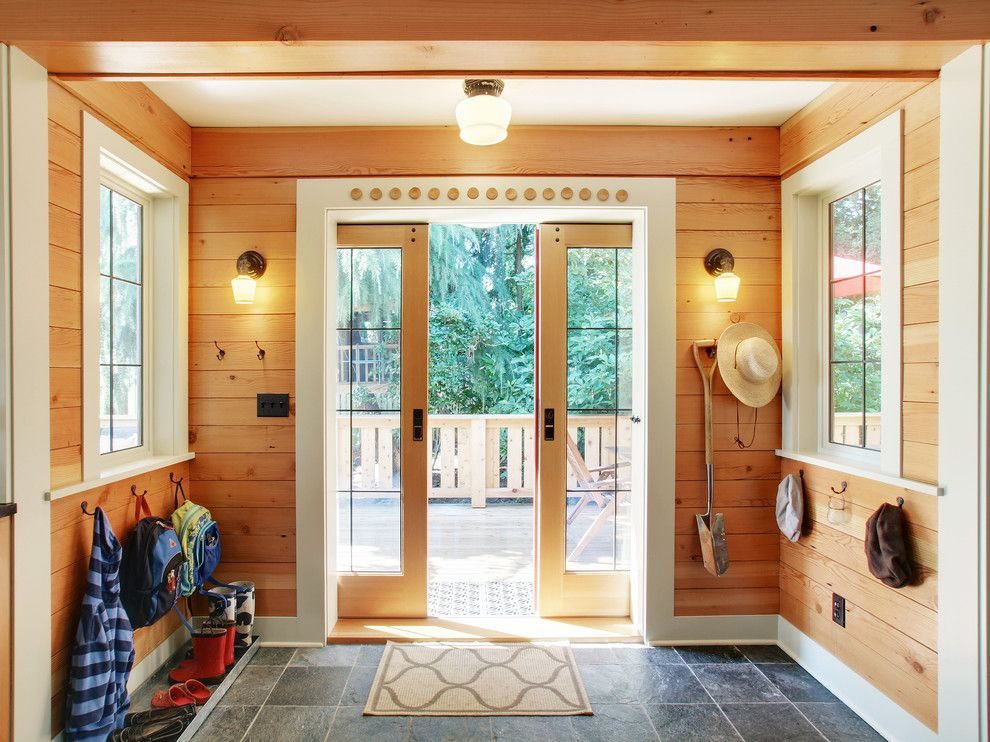 How to Install Bifold Doors for a Rustic Entry with a Shoe Tray and Entry/mudrooms by J.a.s. Design Build