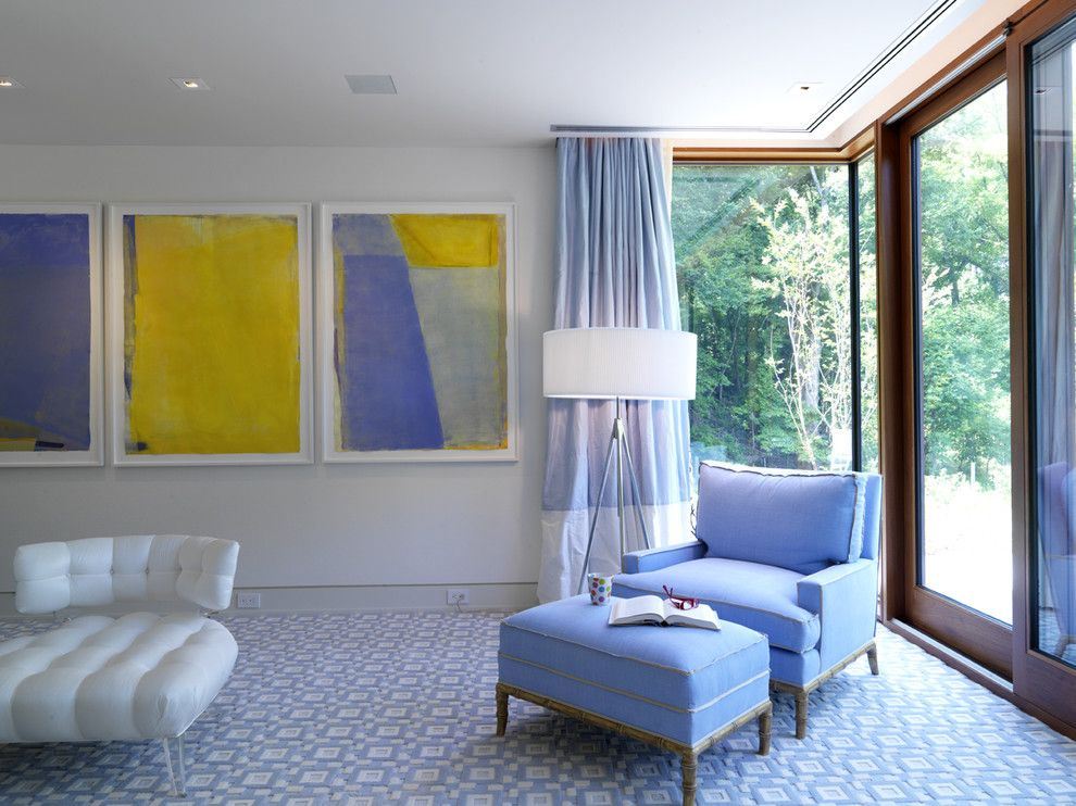 How to Install Curtain Rods for a Contemporary Bedroom with a Carpet Pattern and Woodvalley   Bathroom by Ziger/snead Architects