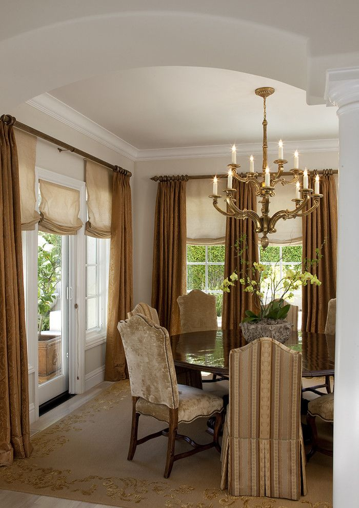 How to Install Curtain Rods for a Traditional Dining Room with a Arched Doorway and Kathy Bloodworth by Kathy Bloodworth Interior Design
