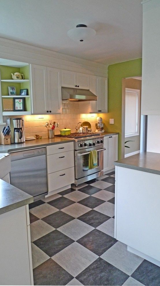 How to Install Linoleum for a Eclectic Kitchen with a Shaws Apron Sink and Magnolia Kitchen by Live Work Play