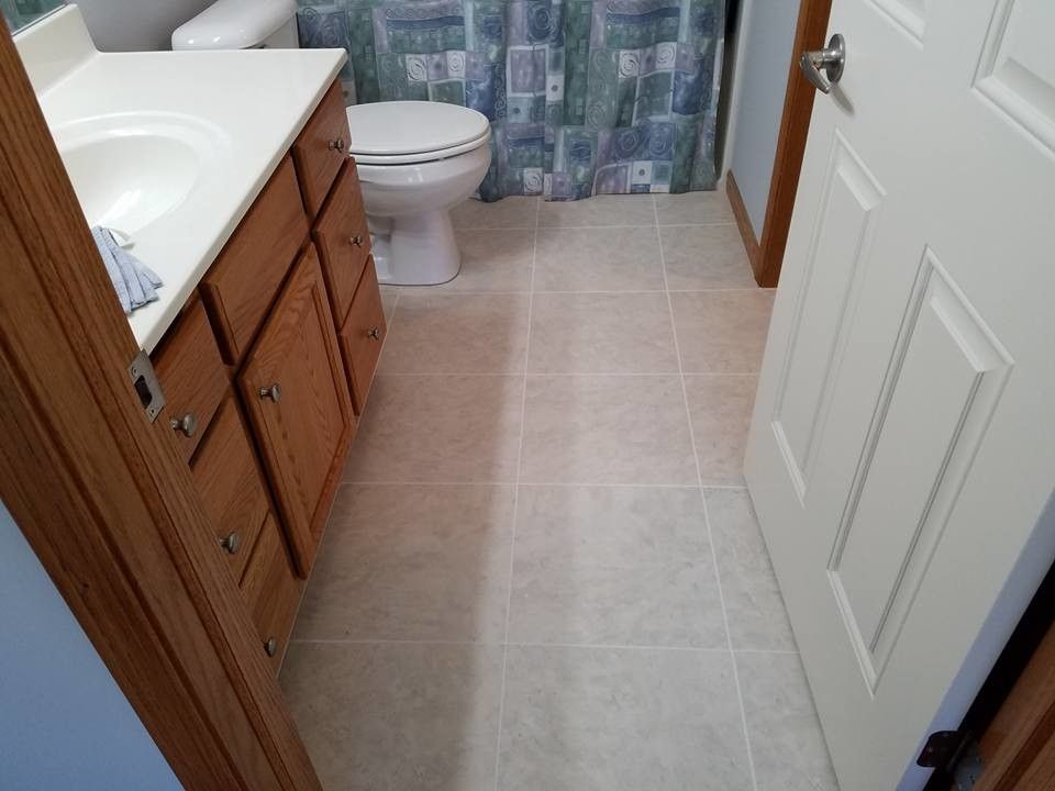 How to Install Linoleum for a Traditional Bathroom with a Illinois and Traditional Bathroom Ceramic Tile in Davenport, Ia by Koester's Linoleum Shop