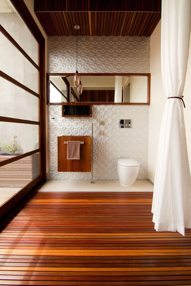 How to Install Pergo Flooring for a Contemporary Powder Room with a Timber and Resort Penthouse Ensuite Bathroom by Alsocan Architects