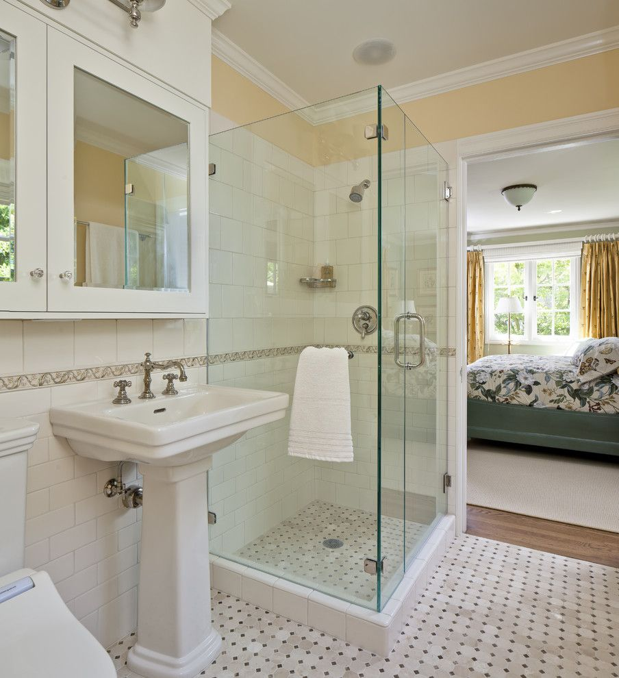 How to Install Pergo Flooring for a Traditional Bathroom with a White Wood and California Tudor Style Residential Remodel by Custom Kitchens by John Wilkins, Inc.