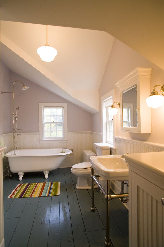 How to Install Pergo Flooring for a Victorian Bathroom with a White Trim and Hudson Valley Farmhouse by James Dixon Architect Pc