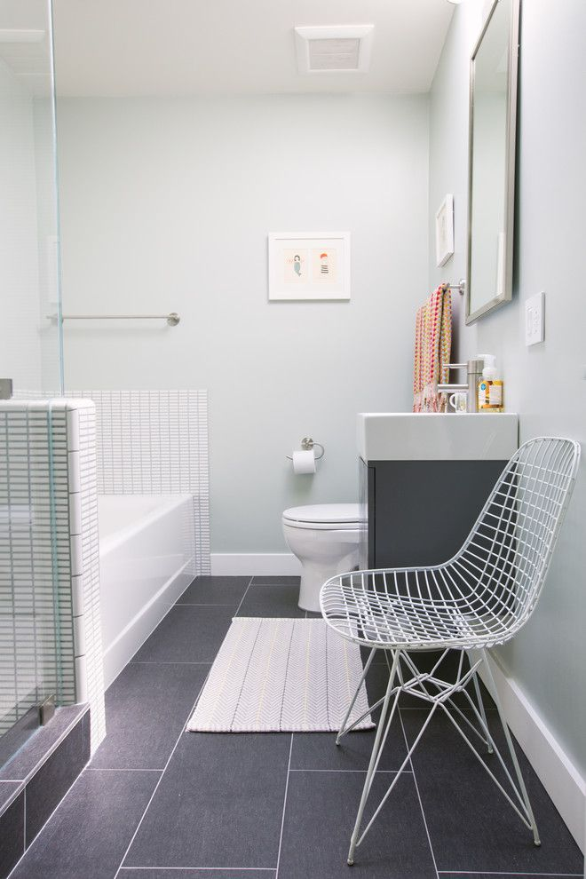 How to Install Porcelain Tile for a Contemporary Bathroom with a Gray Floor Tile and My Houzz: The Podolls by Nanette Wong