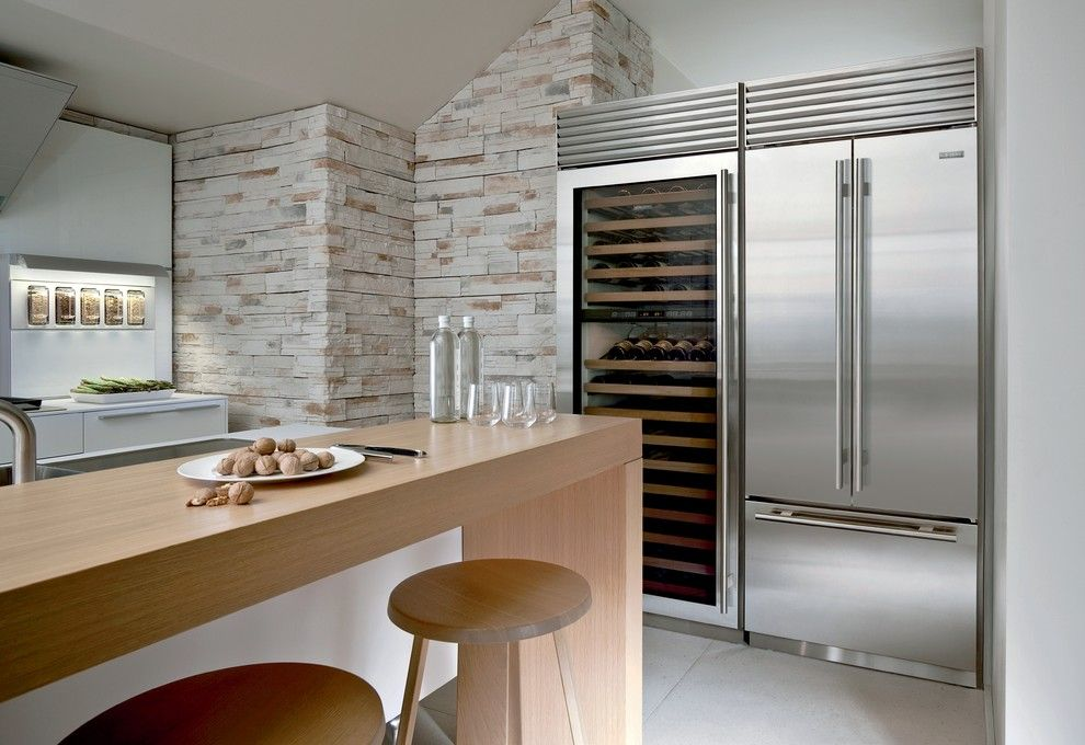 How to Install Porcelain Tile for a Contemporary Kitchen with a Wine Fridge and Kitchens by Sub Zero and Wolf