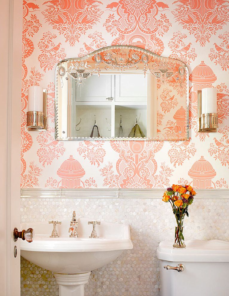 How to Install Porcelain Tile for a Traditional Powder Room with a Pink Wallpaper and Winnetka Residence by Alan Design Studio