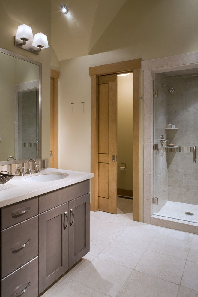 How to Install Prehung Door for a Contemporary Bathroom with a Wood Cabinets and Fox Run 13 by David Johnston Architects