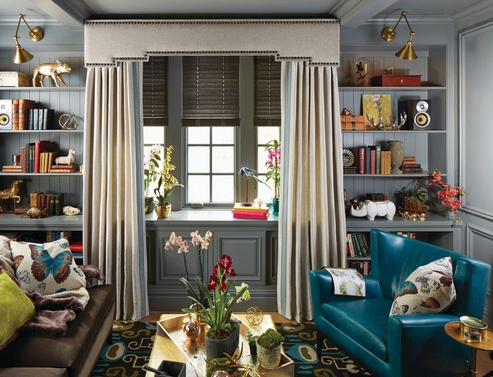 How to Install Prehung Door for a Contemporary Living Room with a Drapery Fabric and Whimsical Living Room by Budget Blinds