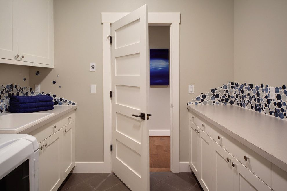 How to Install Prehung Door for a Transitional Laundry Room with a Blue and Woodinville Retreat by Interiors