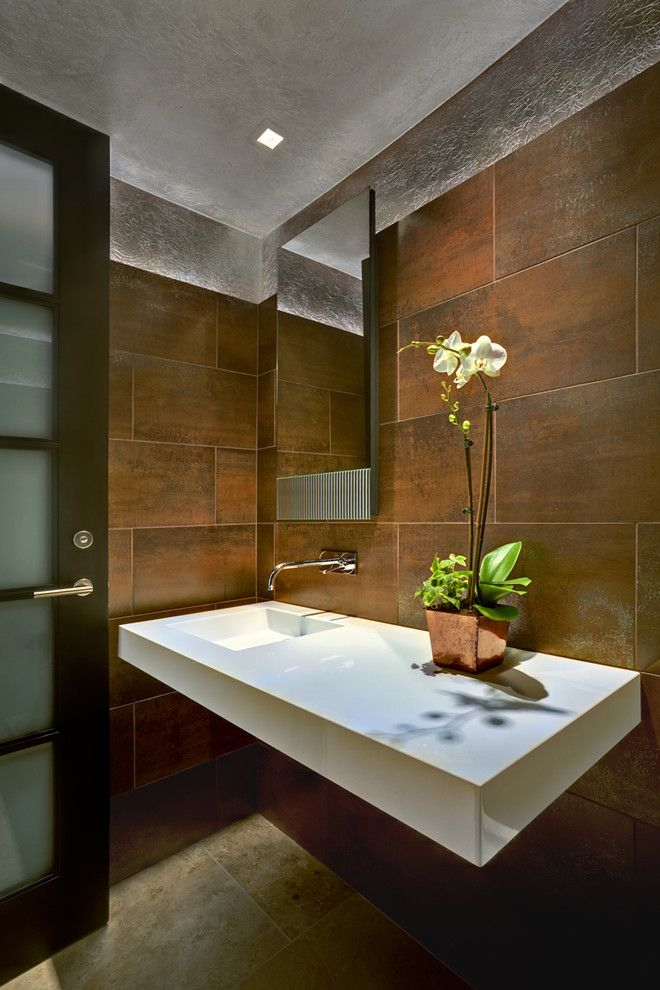 How to Lay Ceramic Tile for a Contemporary Powder Room with a Floating Vanity and Tucson Residence Kitchen by John Senhauser Architects
