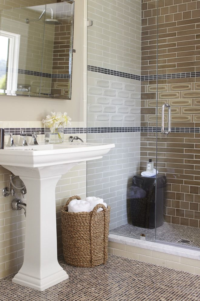 How to Lay Ceramic Tile for a Transitional Bathroom with a White Sink and Mill Valley, Ca by Urrutia Design