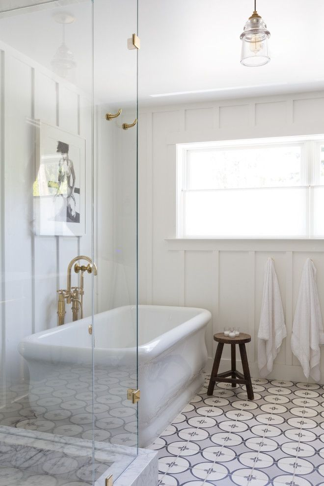 How to Lay Ceramic Tile for a Transitional Bathroom with a Wood Panel and 1930s Church Home Revival by Hsh Interiors