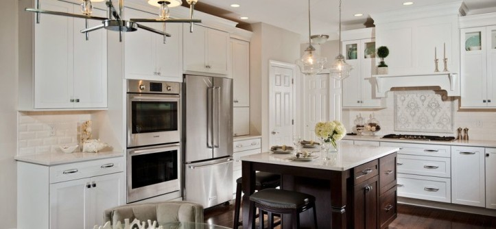 How to Lay Ceramic Tile for a Transitional Kitchen with a Mantle Hood and Transitional White Kitchen by KITCHEN and BATH WORLD, INC