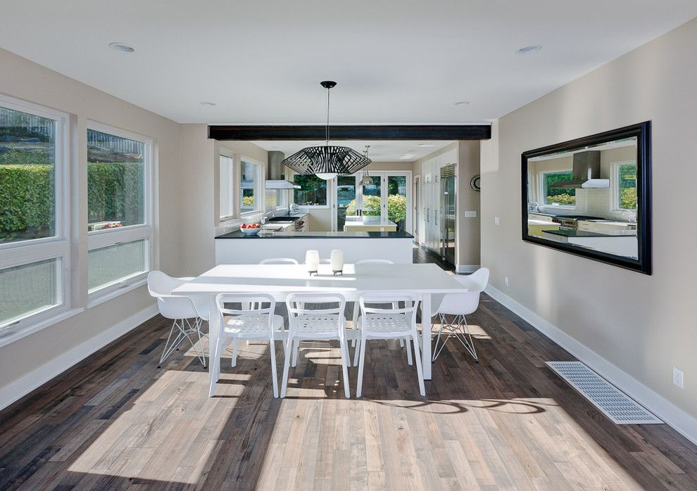 How to Lay Hardwood Floors for a Contemporary Dining Room with a Minimal and Dyna   Mt Baker2 by Dyna Contracting