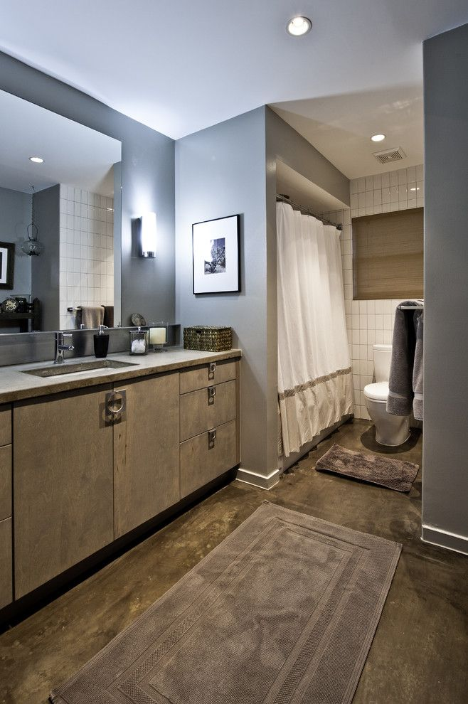 How to Lay Laminate Floor for a Contemporary Bathroom with a Sconce and Contemporary Bathroom by Rd Architecture, Llc