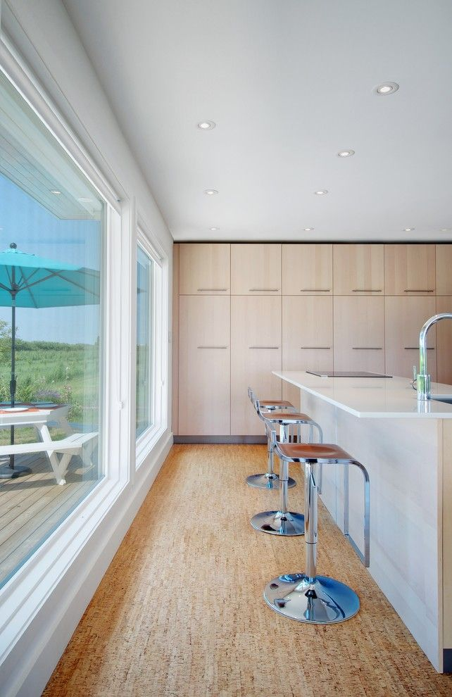 How to Lay Laminate Floor for a Contemporary Kitchen with a Brown Leather Seat and My Houzz: Niagara Vineyard Renovation by Andrew Snow Photography