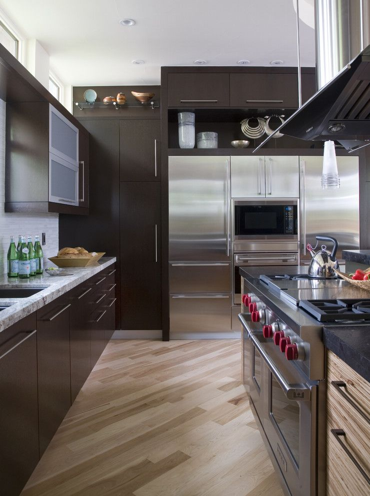 How to Lay Laminate Floor for a Contemporary Kitchen with a Dark Stained Cabinets and Hilltop Contemporary by Exquisite Kitchen Design