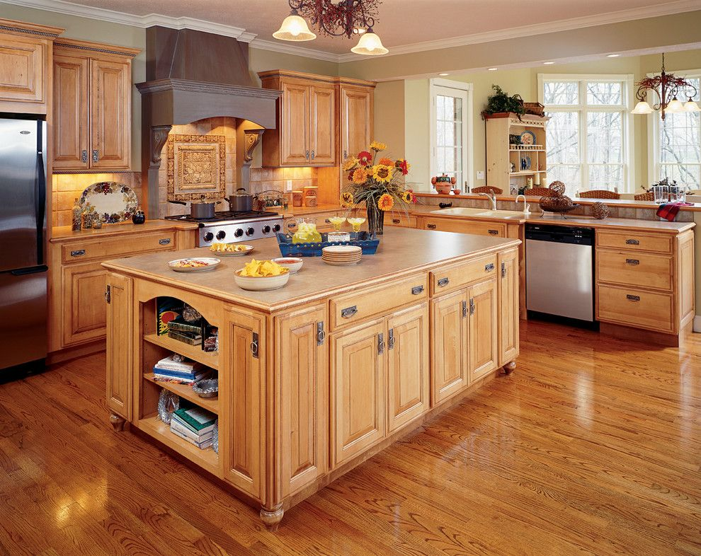 How to Lay Laminate Floor for a Craftsman Kitchen with a Island and Kitchen Cabinets by Capitol District Supply