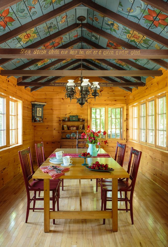 How to Paint a Popcorn Ceiling for a Farmhouse Dining Room with a Wood Dining Table and Brorson Cottage by Virge Temme Architecture Inc