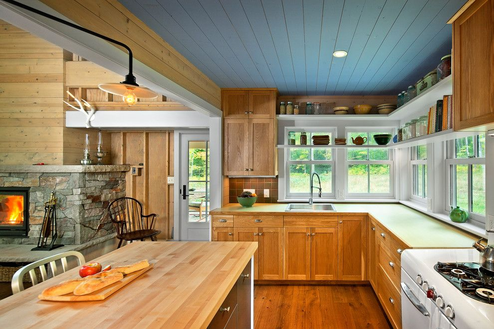 How to Paint a Popcorn Ceiling for a Farmhouse Kitchen with a Kitchen Island and Madeline Island by Albertsson Hansen Architecture, Ltd