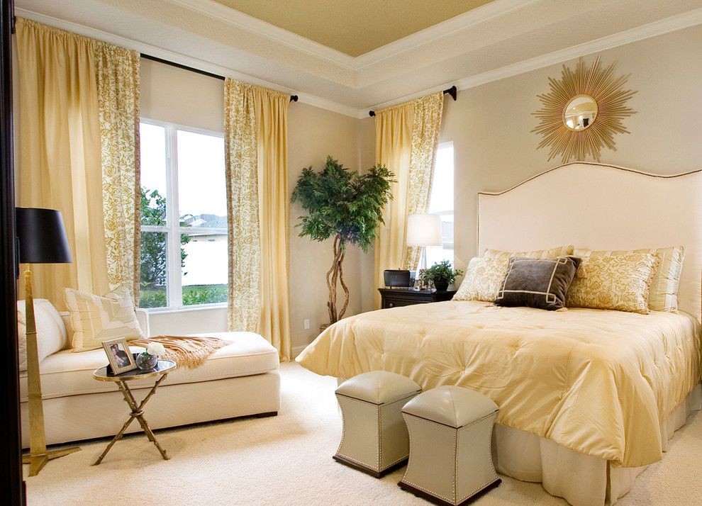 How to Paint a Popcorn Ceiling for a Transitional Bedroom with a Tan Walls and Interior Design Gallery by Masterpiece Design Group