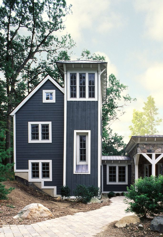 How to Paint Aluminum Siding for a Contemporary Exterior with a Board and Batten Siding and Contemporary Michigan Farmhouse by Damian Farrell Design Group