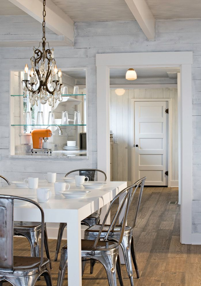 How to Refinish a Table for a Eclectic Dining Room with a Pacific Northwest Island Cabin and Puget Sound Beach Cabin by Sam Van Fleet Photography