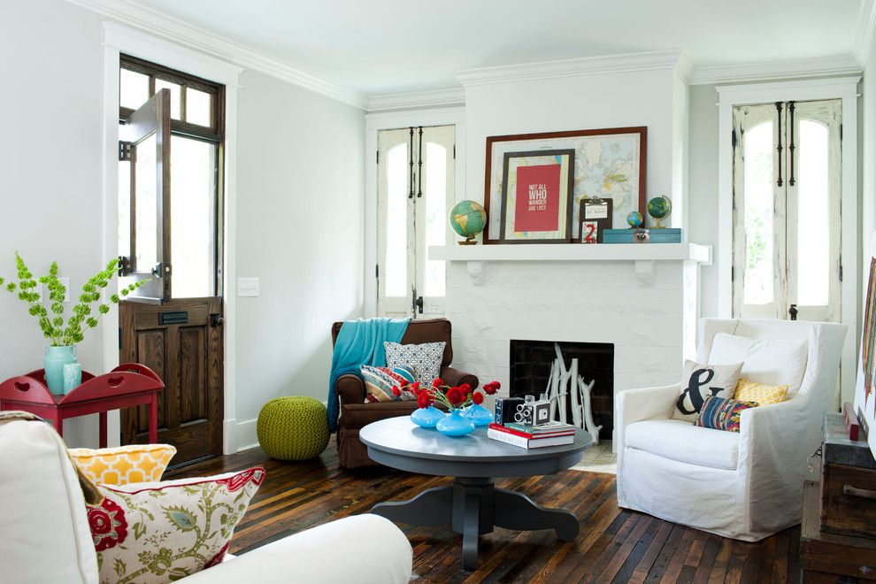 How to Refinish a Table for a Eclectic Living Room with a White Doors and Interiors by Jeff Herr Photography