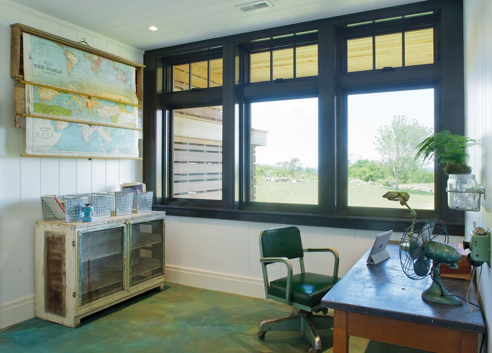 How to Refinish a Table for a Traditional Home Office with a Concrete Floor and Block Island Residence by Eck   Macneely Architects Inc.
