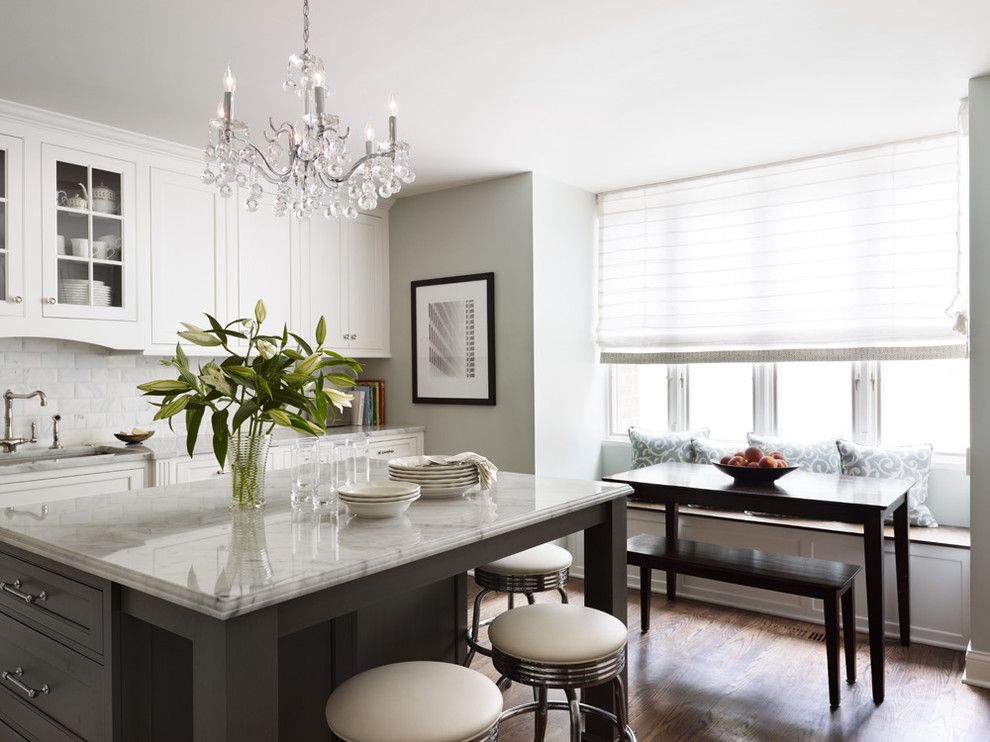 How to Refinish a Table for a Traditional Kitchen with a Tile Kitchen Backsplash and City Townhome by Kim Scodro Interiors