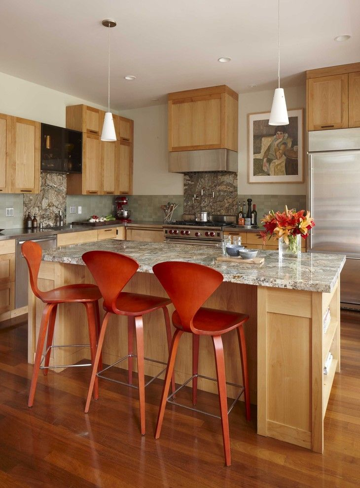 How to Refinish Wood Floors for a Transitional Kitchen with a Wood Floor and Kitchen by Andre Rothblatt Architecture