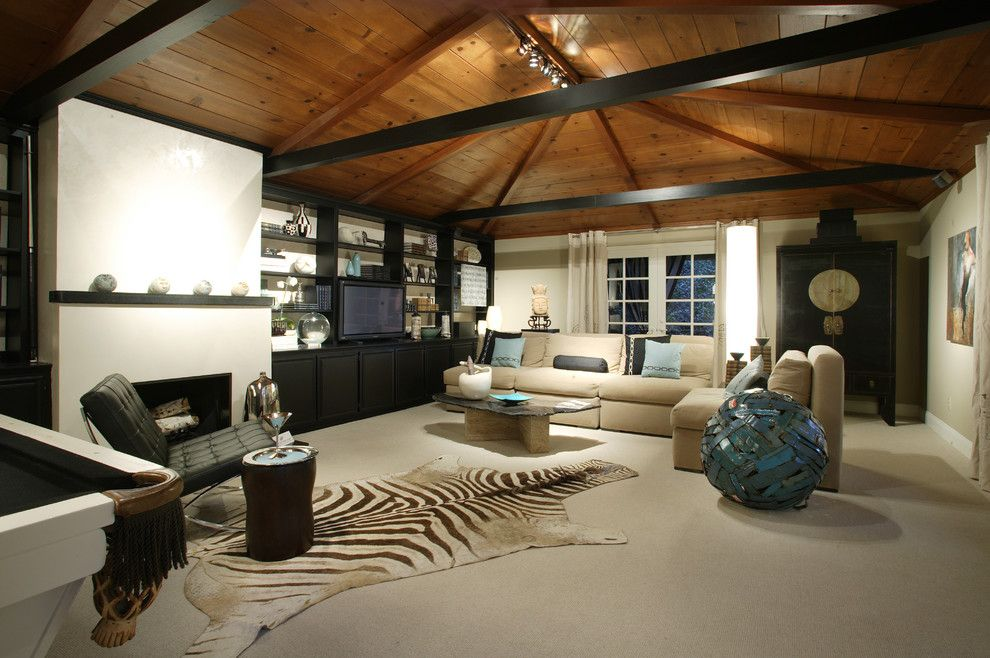 How to Remove a Popcorn Ceiling for a Contemporary Family Room with a Fireplace Mantel and Crocker Road, Sacramento Ca by Benning Design Construction
